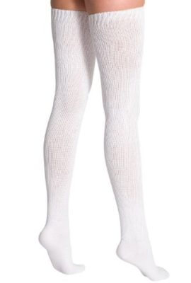 American-Apparel-Cotton-Solid-Thigh-High-Socks-White-One-Size-0