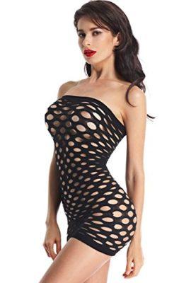 Amoretu-Womens-Strapless-Lingerie-Pothole-Tube-Chemise-Dress-Black-0