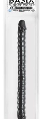 Basix-Rubber-Works-18-Ribbed-Double-Dong-Black-0