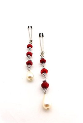 Bijoux-De-Nip-Nipple-Clamp-Tweezer-Chrome-Red-Beads-Pearl-Drop-0