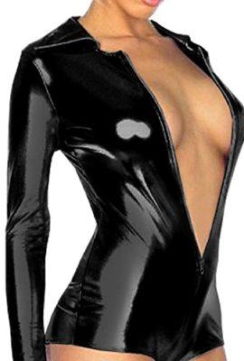 Blooms-Outlet-Lingerie-Metallic-Zip-Front-Romper-Jump-Suit-Clubwear-CMJ323BK-M-0