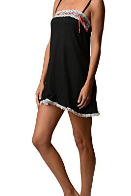 Bottoms-Out-Womens-Jersey-Knit-Lace-Chemise-Nightshirt-Sweetheart-Slip-Black-Large-0