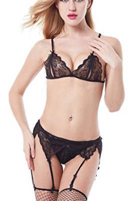 DLZ-Stores-Sexy-Lingerie-4pcs-Set-for-women-m-black-0