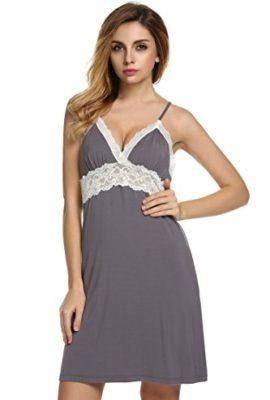 Ekouaer-Nightdress-Womens-Lace-Chemise-Gray-Large-0