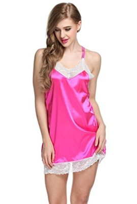 Ekouaer-Womens-Slim-Fit-Chemise-Nighty-With-Adjustable-StrapsRose-RedL-0