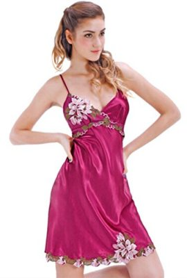 LY-Sexy-Womens-Silk-Sleeveless-Pajamas-Sleepwear-Nightgown-Chemise-Pink-2XL-0