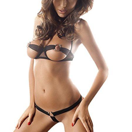 Aivtalk-Womens-Sexy-Cupless-Lingerie-Set-Open-Bra-Steel-Cups-Bikini-Nightwear-0