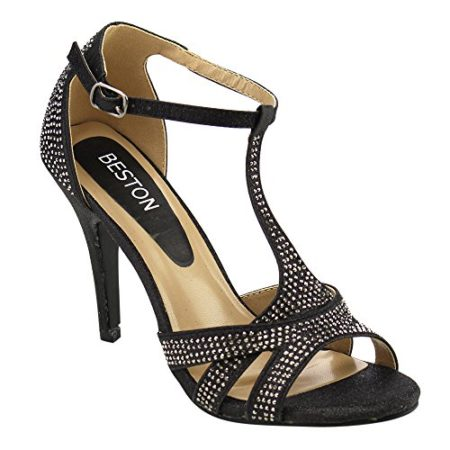 Beston-GB39-Womens-T-Strap-Ankle-Stiletto-Heels-About-Half-Size-Large-ColorBLACK-Size8-0