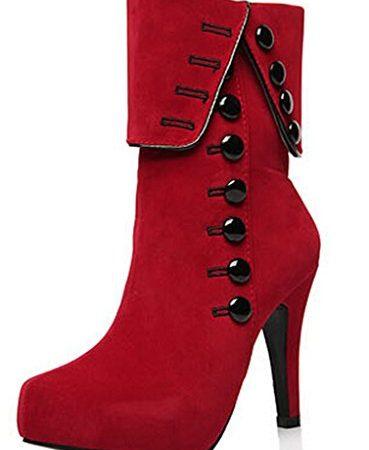 DADAWEN-Womens-Suede-High-Heel-Side-Zipper-Ankle-Booties-Red-US-Size-9-0